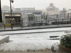 鷺沼駅 雪かき
